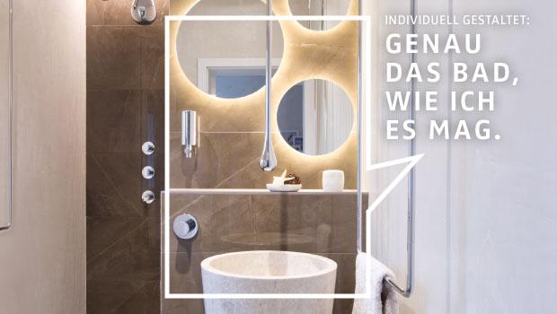 DIE BADGESTALTER realisieren auch in einem Kleinbad außergewöhnliche Gestaltungswünsche.